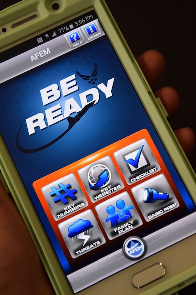The Air Force smartphone application Be Ready is seen on the screen display of a phone Aug. 1, 2015. The mobile app complements the Air Force Emergency Preparedness Guide. (US. Air National Guard photo by Master Sgt. Christopher Botzum/Released)