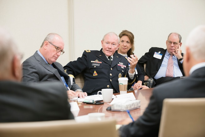 Army Gen. Martin E. Dempsey, center, chairman of the Joint Chiefs of Staff, speaks to members of Business Executives for National Security in Washington, D.C., Sept. 2, 2015. The nonpartisan nonprofit organization supports the U.S. government by applying best business practice solutions to its most difficult national security problems. DoD photo by U.S. Army Staff Sgt. Sean K. Harp