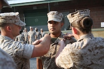 U.S. Marine Corps Sgt. Jorge Sanchez, a native of Edcouch, Texas, and 2009 graduate of Edcouch-Elsa High School was promoted to his current rank of sergeant in a promotion ceremony at the Defense Distribution Center Susquehanna, New Cumberland, Pennsylvania, Sept. 1, 2015. Sanchez currently serves as the 4th Marine Corps District Supply noncommissioned officer. As Supply NCO, he is responsible for purchasing and maintaining purchase records for 4th MCD of more than six million dollars. Sanchez enlisted in the Marine Corps January 2012. He has been stationed at Marine Corps Air Station Iwakuni, Japan, and New Cumberland, Pennsylvania, and he has been deployed to Tinian and Guam in support of Operation Forager Fury II and South Korea in support of Operation Freedom Banner. His awards include the Good Conduct Medal, Sea Service Deployment Ribbon, Korean Defense Service Medal, Global War on Terrorism Service Medal, and National Defense Medal.