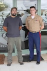 Sebastian N. Czyz, a Poznan, Poland, native, poses for a photo with U.S. Marine Corps Sgt. Justin Walker, a recruiter with Marine Corps Recruiting Sub Station Wilmington, North Carolina, in front of RSS Wilmington, Aug. 27, 2015. Czyz finally achieved his childhood goal of joining the Marine Corps on June 15, 2015. He is scheduled to ship to recruit training in April, 2016.  (U.S. Marine Corps photo by Sgt. Dwight A. Henderson/Released)