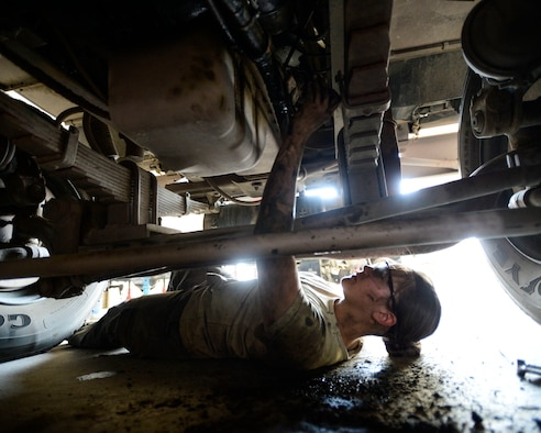 Staff Sgt. Saber Barrera, with 386th Expeditionary Logistics Readiness Squadron firetruck and refueling maintenance, works with a co-worker to replace an engine starter in Southwest Asia, Aug. 27, 2015. The Airmen support Operation Inherent Resolve, which is intended to reflect the deep commitment of the U.S. and partner nations in the region and around the globe to eliminate the Islamic State of Iraq and the Levant terrorist group and the threat imposed on Iraq. (U.S. Air Force photo/Racheal E. Watson)