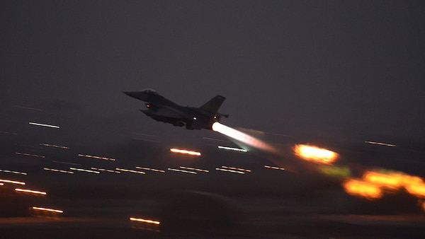 An F-16 Fighting Falcon takes off from Incirlik Air Base, Turkey in support of Operation Inherent Resolve, Aug. 12, 2015. This follows Turkey's decision to host the deployment of U.S. aircraft conducting counter-ISIL operations. The U.S. and Turkey, as members of the 60-plus nation coalition, are committed to the fight against ISIL in pursuit of peace and stability in the region. U.S. Air Force photo by Senior Airman Krystal Ardrey