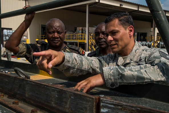 Tech. Sgt. Manuel Chavez, right, an air advisor assigned to the 818th Mobility Support Advisory Squadron, shares knowledge about the Halvorsen K Loader to members of the Angolan Air Force during the African Partnership Flight hosted by the 621st Contingency Response Wing at Joint Base McGuire-Dix-Lakehurst, N.J., Sept. 1, 2015. The African Partnership Flight program, sponsored and developed by U.S. Air Forces in Europe and Air Forces Africa, is the premier security cooperation program that partners U.S. and African personnel to improve professional military aviation knowledge, skills and cooperation. (U.S. Air Force photo by Staff Sgt. Gustavo Gonzalez)
