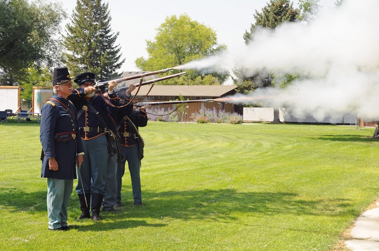 Historic period actors demonstrate weapons used during the Utah War during a presentation for Utah Army and Air National Guard members at Camp Floyd State Park, at the Adjutant General's Staff Ride on Aug. 22, 2015. (U.S. Air National Guard photo by Staff Sgt. Annie Edwards/Released)