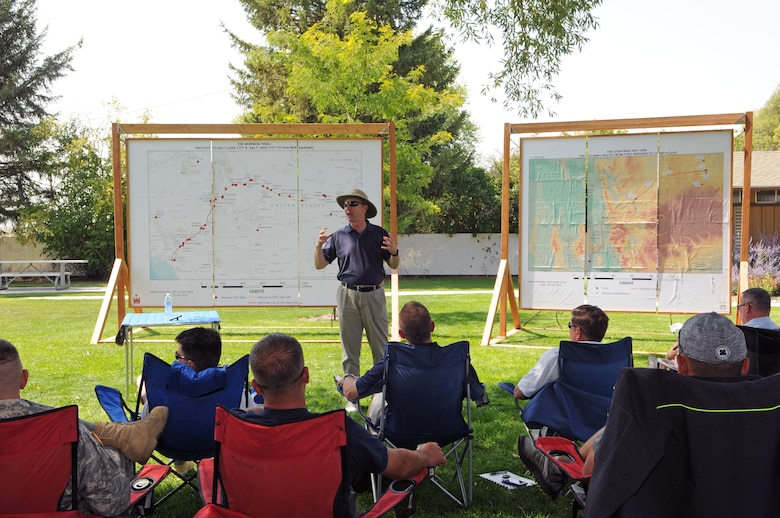Historian Richard Turley addresses Utah Army and Air National Guard members at Camp Floyd State Park, during the Adjutant General's Staff Ride on Aug. 22, 2015. (U.S. Air National Guard photo by Staff Sgt. Annie Edwards/Released)