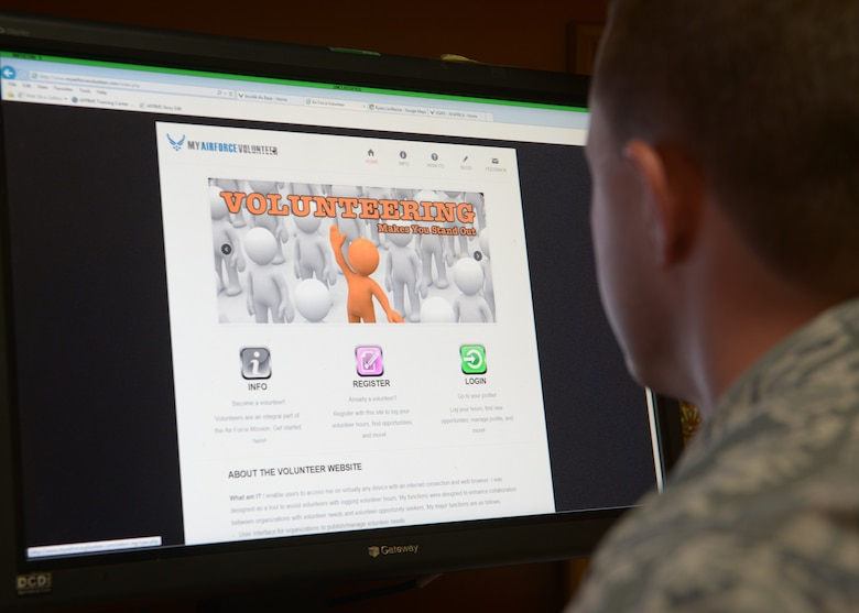 U.S. Air Forces in Europe-Air Forces Africa has received approval from the Air Force Personnel Center and Air Staff to pilot a new volunteer program website before it goes live Air Force wide.  The new website application makes it simpler for active duty members and civilians to post, search and log volunteer opportunities and hours in the local area by connecting volunteers with the organizations that seek them. (U.S. Air Force photo by Senior Airman Krystal Ardrey/Released)