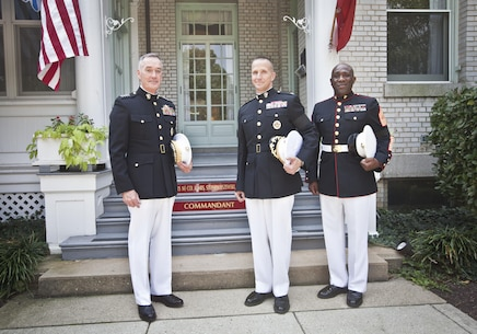 The 36th Commandant of the Marine Corps, Gen. Joseph Dunford, left, Col. Stephen Liszewski, center, and the 18th Sergeant Major of the Marine Corps, Ronald L. Green, right, pose for a photo at the United States Naval Academy, Annapolis, MD, September 3, 2015. (U.S. Marine Corps photo by Sgt. Melissa Marnell, Office of the 18th Sergeant Major of the Marine Corps/Released)