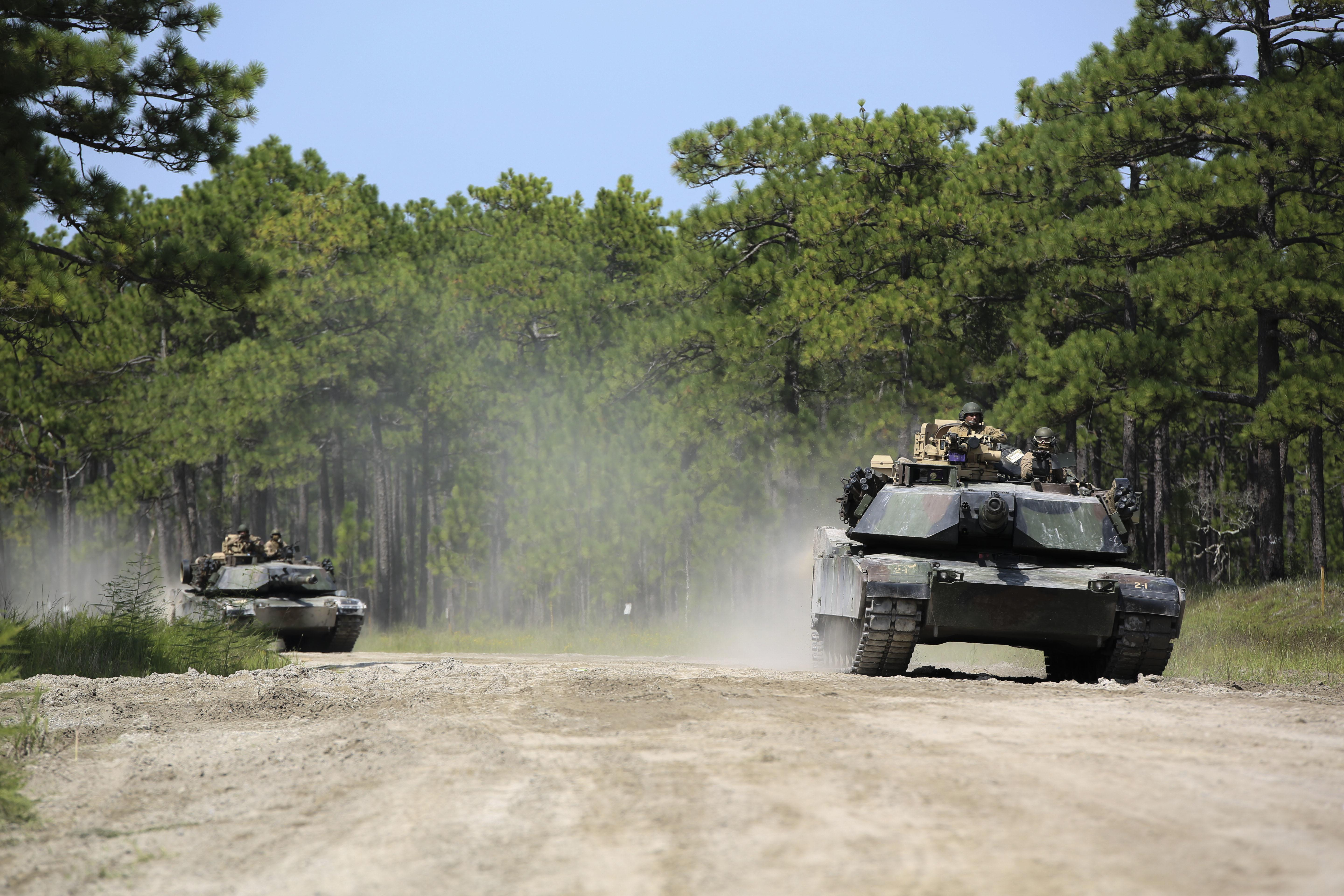 Marines with Alpha Company, 2nd Tank Battalion, make their way to Landing Zone Dodo