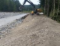 Levee rehabilitation work on the Carbon River near Orting, Washington