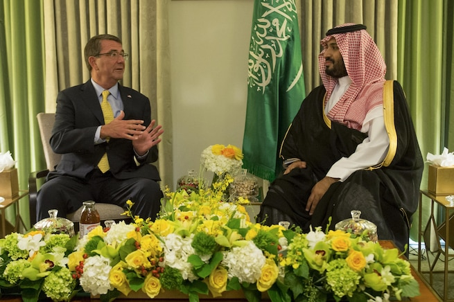 U.S. Defense Secretary Ash Carter meets with Saudi Deputy Crown Prince and Defense Minister Prince Mohammed bin Salman in Washington, D.C., Sept. 4, 2015. The two defense leaders met to discuss matters of mutual importance. DoD photo by U.S. Air Force Senior Master Sgt. Adrian Cadiz