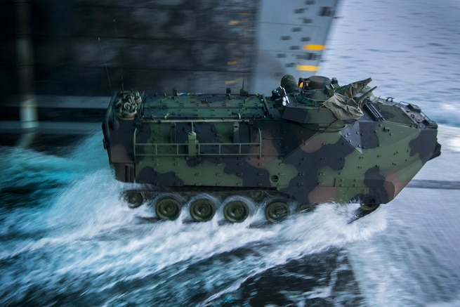 An amphibious assault vehicle prepares to exit the well deck during a ship-to-shore exercise aboard amphibious transport dock ship USS Somerset in the Pacific Ocean, Sept. 3, 2015. The ship is participating in Dawn Blitz 2015, a training exercise to build U.S., Japanese, Mexican and New Zealand amphibious and command and control capabilities. U.S. Navy photo by Petty Officer 1st Class Vladimir Ramos