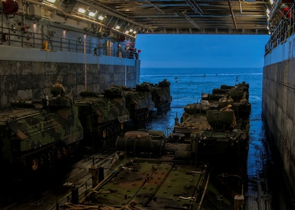 CAMP PENDLETON, Calif. (Sept. 5, 2015) - U.S. Marines assigned to 3rd Assault Amphibian Battalion prepare to launch an amphibious assault vehicle (AAV) off the well deck of the amphibious transport dock ship USS Somerset (LPD 25) during Exercise Dawn Blitz 2015 (DB-15). Dawn Blitz 2015 is a scenario-driven exercise designed to train the U.S. Navy and Marine Corps in operations expected of an amphibious task force while also building U.S. and coalition operational interoperability. The exercise will test staffs in the planning and execution of amphibious operations in a series of live training events at sea and ashore. (U.S. Navy photo by Mass Communication Specialist 1st Class Vladimir Ramos/Released)