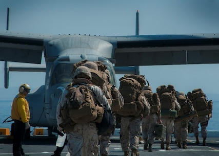 PACIFIC OCEAN (Sept. 5, 2015) – U.S. Marines assigned to 5th Marine Regiment Headquarters prepare to board an MV-22B Tilt-rotor Osprey assigned to Marine Medium Tilt-rotor Squadron (VMM) 163 with 3rd Marine Aircraft Wing during flight operations aboard amphibious transport dock ship USS Somerset (LPD 25) as part of Exercise Dawn Blitz 2015 (DB-15). Dawn Blitz 2015 is a scenario-driven exercise designed to train the U.S. Navy and Marine Corps in operations expected of an amphibious task force while also building U.S. and coalition operational interoperability. The exercise will test staffs in the planning and execution of amphibious operations in a series of live training events at sea and ashore. (U.S. Navy photo by Mass Communication Specialist 1st Class Vladimir Ramos/Released