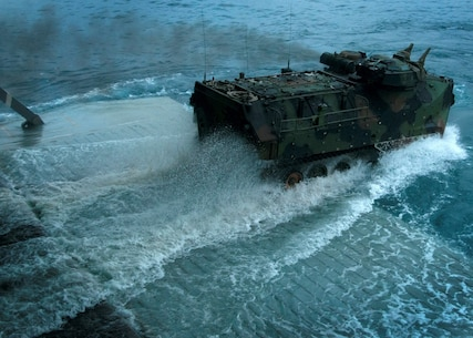CAMP PENDLETON, Calif. (Sept. 3, 2015) An amphibious assault vehicle (AAV) with 3rd Assault Amphibian Battalion splashes into the Pacific Ocean during a ship to shore exercise movement aboard amphibious transport dock ship USS Somerset (LPD 25). Somerset is currently participating in Exercise Dawn Blitz 2015 (DB-15). Exercise DB-15 is a multinational training conducted by Expeditionary Strike Group 3 (ESG-3) and 1st Marine Expeditionary Brigade (1 MEB) to build U.S., Japan, Mexico, and New Zealand's amphibious and command and control capabilities through live, simulated, and constructive military training activities off the coast and ashore at Marine Corps Base Camp Pendleton and at Marine Corps Air Ground Combat Training Center 29 Palms, California. Somerset is the ninth San Antonio-class amphibious transport dock ship. (U.S. Navy photo by Mass Communication Specialist 1st Class Vladimir Ramos/Released)
