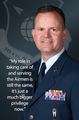 Chief Master Sgt. Robert Bedell, 30th Space Wing command chief, is responsible for assisting enlisted Team V members and providing them guidance. Formerly the 381st Training Group superintendent, Bedell has made connecting with Airmen a priority. (U.S. Air Force graphic by Jan Kays/Released)
