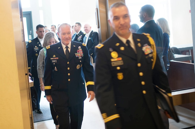 U.S. Army Gen. Martin E. Dempsey, chairman of the Joint Chiefs of Staff, arrives at the U.S. Embassy in Berlin, Sept. 9, 2015. Dempsey is in Germany to meet with German military leaders and discuss the two nations' military-to-military relationships. DoD photo by D. Myles Cullen