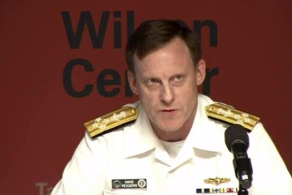 Navy Adm. Michael S. Rogers, commander of U.S. Cyber Command, speaks at the Woodrow Wilson International Center for Scholars in Washington, D.C., Sept. 8, 2015. DoD screen shot