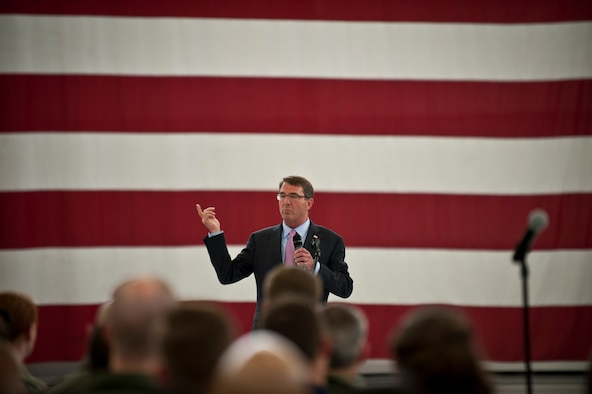 Defense Secretary Ash Carter addresses Airmen and coalition partners during an all call at Nellis Air Force Base, Nev., Aug. 26, 2015. During the secretary's visit to Nellis AFB he observed Red Flag 15-4 operations and spoke to Airmen and coalition partners. During the all call, Carter took questions from service members and addressed issues relating to budgets, force retention, morale and operational priorities. (U.S. Air Force photo/Senior Airman Joshua Kleinholz)