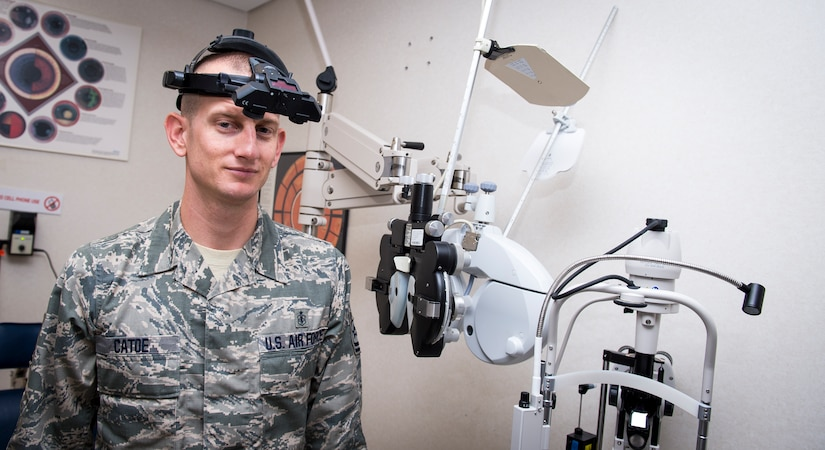 Tech. Sgt. Wesley Catoe, 628th Medical Group optometry NCOIC poses for a photo Sep. 9, 2015, at the optometry office on Joint Base Charleston, S.C. The optometry clinic provides services such as eye examinations, visual acuity checks, repairing glasses, color vision tests and comprehensive exams. To set up an appointment, call the Air Base optometry clinic at 963-6880. (U.S. Air Force photo/Airman 1st Class Clayton Cupit)