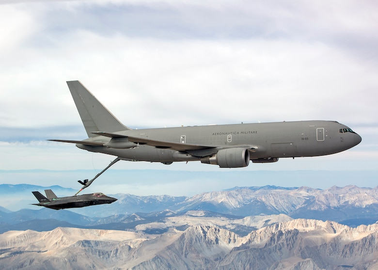 An Italian Air Force KC-767A tanker refuels an F-35A during a test sortie Aug. 6, 2015. Italy's F-35 program achieved two recent milestones with the completion of the first aerial refueling certification between an Italian Air Force KC-767A tanker with an F-35A and the inaugural flight of an Italian-built F-35A. (Lockheed Martin photo/Jonathan Case)