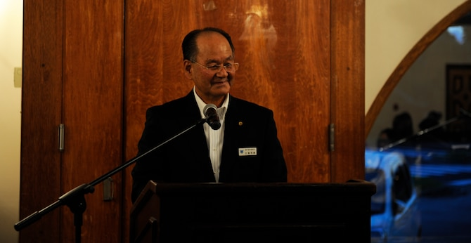 Hidekatsu  Higa, dean of the Kadena Language Institute, speaks to attendees of the2015 KLI farewell dinner Sept. 3 on Kadena Air Base, Japan. It is with the support of Higa that this program is made possible on Kadena Air Base. He expressed his gratitude toward Kadena for supporting the program. (U.S. Air Force photo by Airman 1st Class Lynette M. Rolen)
