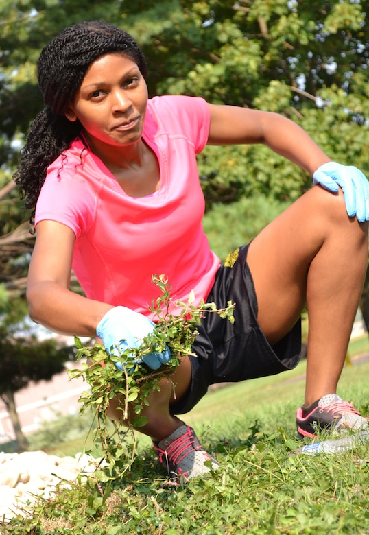 Tech. Sgt. Shieka Wilcox, 111th Attack Wing Human Resources Office, was assigned to the weed-pulling team during the base-clean-up day Aug, 4, 2015 at Horsham Air Guard Station, Pennsylvania. Wilcox joined her fellow Airmen in using the event to accomplish base beautification, but also to spend time with members that she doesn't always see during the duty day. (U.S. Air National Guard photo by Tech. Sgt. Andria Allmond/Released)