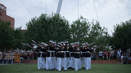 The United States Marine Corps Silent Drill Platoon preforms a series of rifle maneuvers at Civic Space Park, Phoenix, Sept. 9, 2015, as part of the opening ceremony for Marine Week Phoenix. Marine Week Phoenix allows the local community to see the Marine Corps in a way that they would not normally be able to experience.