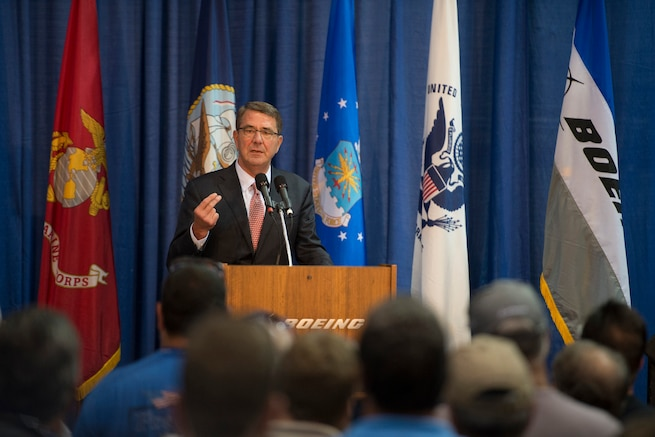 """Defense Secretary Ash Carter speaks to workers at the Boeing facility in St. Louis Mo., during a visit Sept. 9, 2015. Carter thanked them for their contributions to advance America's technological edge. Secretary Carter also attended the Defense Advanced Research Projects Agency's """"Wait, What?"""" future technology forum. DoD photo by U.S. Air Force Senior Master Sgt. Adrian Cadiz"""