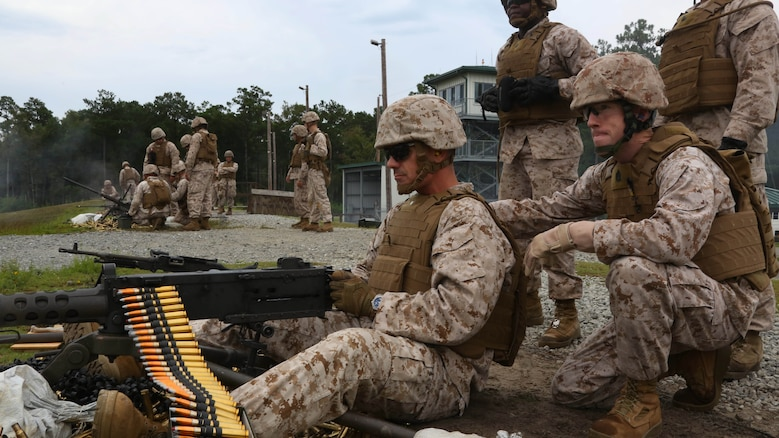 Lt. Col. Jeremy S. Winters, left, and Gunnery Sgt. Clifford Bowen fire a Browning M2 .50-caliber machine gun during a weapons familiarization range at Marine Corps Base Camp Lejeune, North Carolina, Aug. 27, 2015. Winters joined his troops through the rains for a live weapons range with the M240B machinegun, Browning M2 .50-caliber machine gun and the M1014 combat shotgun. Marines from various military job occupations received hands-on experience that allows them to improve crucial skills and become well-rounded war fighters. Winters is the commanding officer of Marine Air Support Squadron 1 and Bowen is the squadrons operations chief.