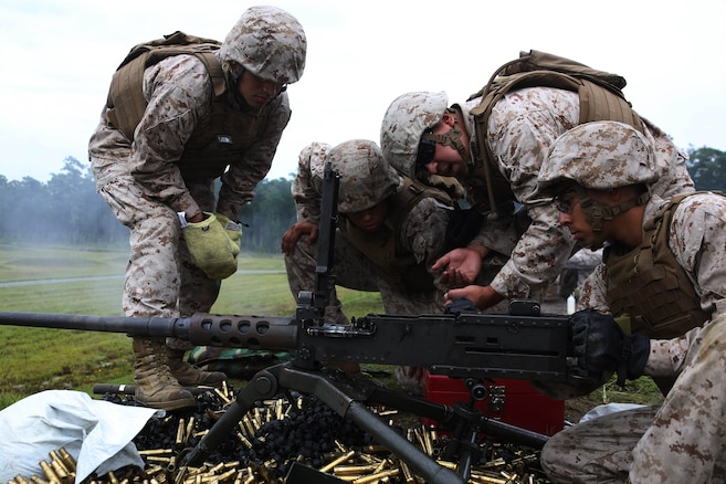 Marines conduct a barrel change for a Browning M2 .50-caliber machine gun during a weapons familiarization range at Marine Corps Base Camp Lejeune, North Carolina, Aug. 27, 2015. More than 100 Marines from Marine Air Support Squadron 1 honed their weapons skills with the M240B machinegun, Browning M2 .50-caliber machine gun and the M1014 combat shotgun. Marines from various military job occupations received hands-on experience that allows them to improve crucial skills and become well-rounded war fighters.