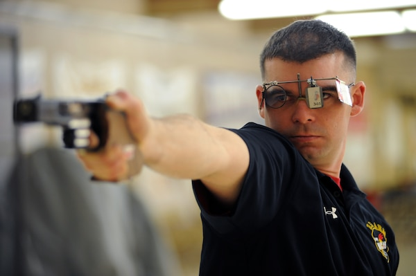 Sgt. 1st Class Keith Sanderson of the U.S. Army World Class Athlete Program, seen here practicing at the U.S. Olympic Training Center in Colorado Springs, Colo., has been selected for his third U.S. Olympic Team and will compete in the men's 25-meter rapid fire pistol event at the 2016 Rio Olympic Games. U.S. Army photo by Tim Hipps, IMCOM Public Affairs