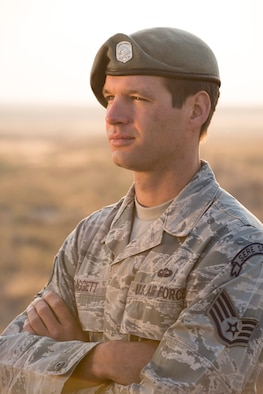 Staff Sgt. Daggett, 366th Operation Group survival, evasion, resistance and escape specialist, poses for a portrait Aug. 8, 2015, in Mountain Home, Idaho. When there was a vehicle accident during a long weekend, Daggett immediately went in to action to help the injured along with calling in a medevac and securing a landing zone. (U.S. Air Force photo by Senior Airman Malissa Lott/RELEASED)