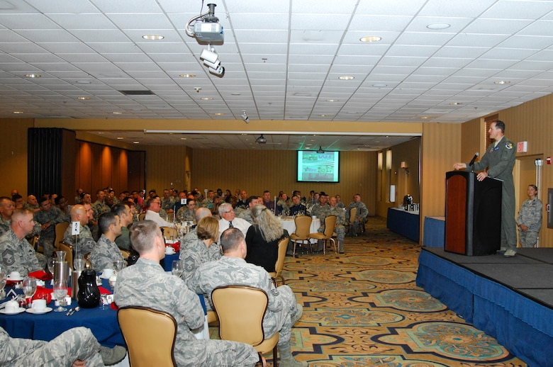 U.S. Air Force Col. James Meger, 355th Fighter Wing commander, speaks to Desert Lightning Team Airmen during the Combined Federal Campaign kickoff breakfast at Davis-Monthan Air Force Base, Ariz., Sept. 10, 2015. The CFC was created in 1961 to coordinate the fundraising efforts of various charitable organizations so that federal donors would only be solicited once throughout the year. (U.S. Air Force photo by Staff Sgt. Angela Ruiz/Released)