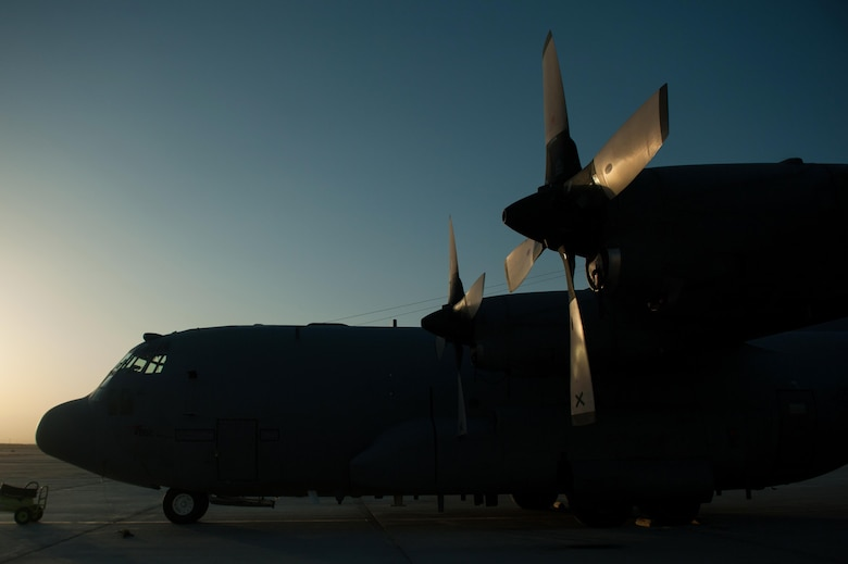 A U.S. EC-130H Compass Call aircraft assigned to the 41st Expeditionary Electronic Combat Squadron sits on the flight line at Bagram Airfield, Afghanistan, Sept. 6, 2015. The Compass Call is an airborne tactical weapon system using a heavily modified version of the C-130 Hercules airframe. (U.S. Air Force photo by Tech. Sgt. Joseph Swafford/Released)