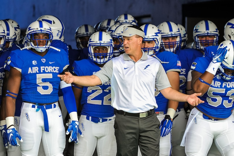 Falcon football head coach Troy Calhoun rallies his team before they take on Morgan State at the U.S. Air Force Academy's Falcon Stadium Sept. 5, 2015, in Colorado. Air Force defeated Morgan State 63-7 to open the 2015 season. (U.S. Air Force photo/Liz Copan)