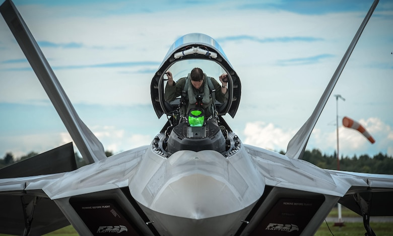 An F-22 Raptor pilot from the 95th Fighter Squadron based at Tyndall Air Force Base, Fla., gets situated in his aircraft prior to taking off from Ämari Air Base, Estonia, Sept. 4, 2015. The F-22s have previously deployed to both the Pacific and Southwest Asia for Airmen to train in a realistic environment while testing partner nations' ability to host advanced aircraft like the F-22. (U.S. Air Force photo/Tech. Sgt. Ryan Crane)