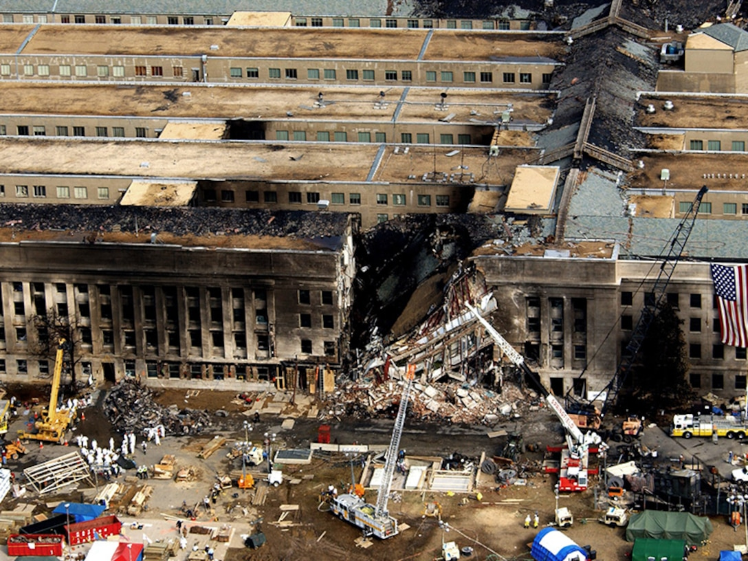 During the attacks on 9/11, the Pentagon was damaged by fire and partly collapsed. (U.S. Air Force photo/Tech. Sgt. Cedric H. Rudisill)