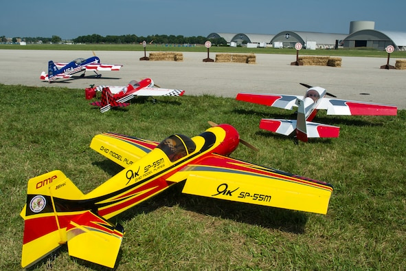 DAYTON, Ohio -- RC planes lined up along the flight line at the Giant Scale Radio-Controlled (RC) Model Aircraft Air Show at the National Museum of the U.S. Air Force. (U.S. Air Force photo)