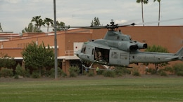 A UH-1Y Huey lands at Arizona State University Tempe Campus, Sept. 10, 2015, as part of Marine Week Phoenix. Marine Week Phoenix allows the Marine Corps to showcase its capabilities to the people of Phoenix who may not know about the Marine Corps.