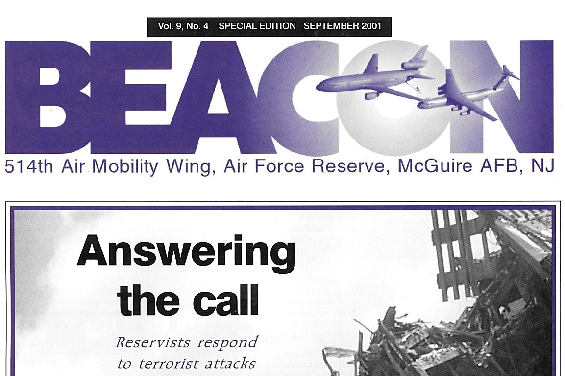 Beacon magazine covers Freedom Wing Airmen during 9/11