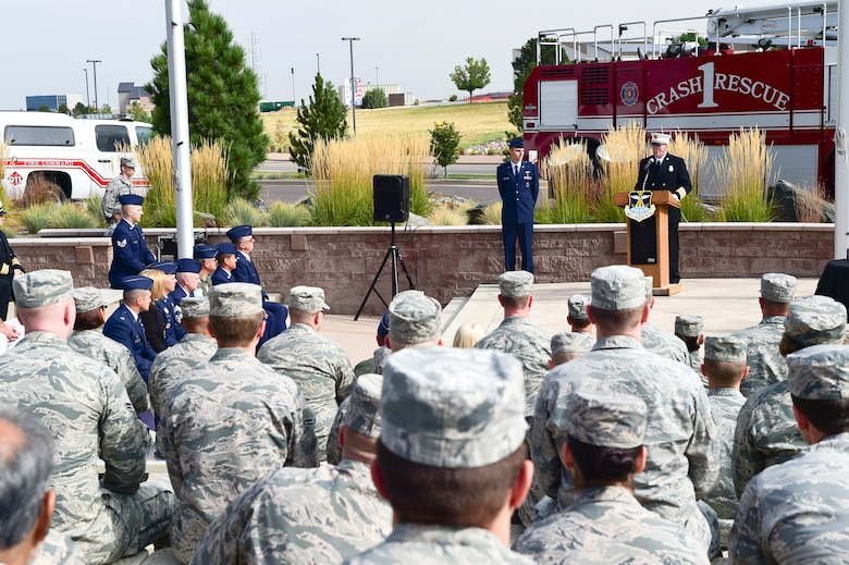 Tim Bosch, Buckley Fire Department fire chief, speaks to members of Team Buckley during the Patriot Day Ceremony Sept. 11, 2015, at the Headquarters Building on Buckley Air Force Base, Colo. Patriot Day is the national day of service and remembrance, in memory of the thousands killed on U.S. soil in the 9/11 attacks. (U.S. Air Force photo by Senior Airman Phillip Houk/Released)