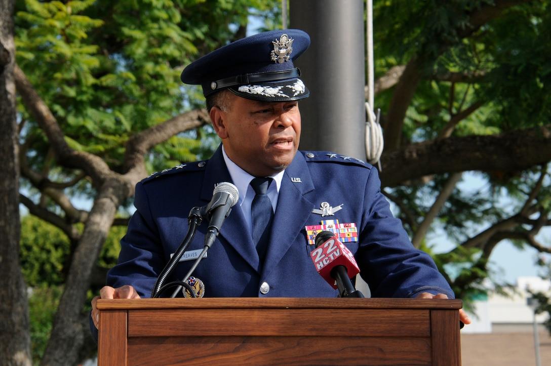 Lieutenant General Samuel Greaves, SMC commander, speaks at the City of Hawthorne's annual 9-11 observance, Sept. 11.  (Photo by Joe Juarez)
