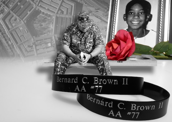 "Bernard ""Curtis"" Brown II, was killed on American Airlines Flight 77 – the flight that hit the Pentagon where his father usually worked. He was one of nearly 3,000 people killed that day. (U.S. Air Force photo illustration by Tommie Horton)"