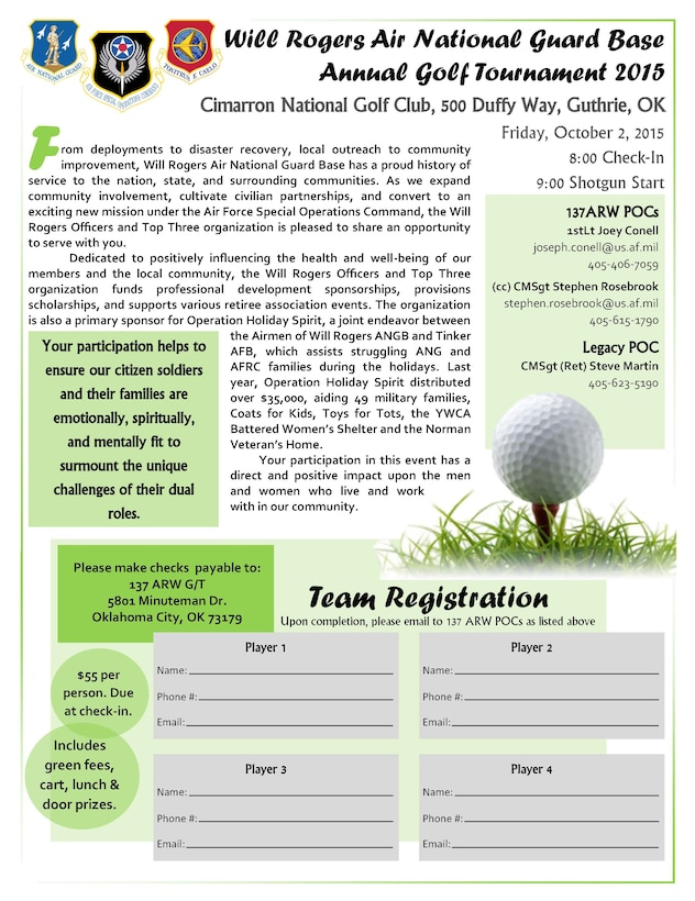 Registration form for the 137 ARW Annual Golf Outing.