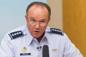 Gen. Philip M. Breedlove, commander of U.S. European Command and supreme allied commander, Europe, speaks to reporters in Istanbul after the NATO Military Committee Conference, Sept. 12, 2015. DoD photo by D. Myles Cullen.