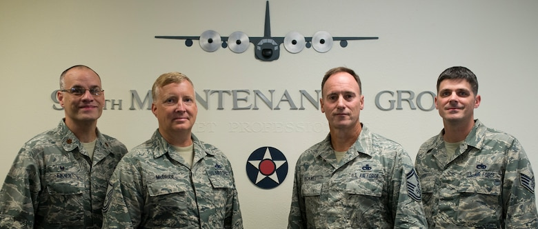 Master Sgt. Charles McBride Jr., Senior Master Sgt. Steven Bicknell, and Staff Sgt. Jason Lauth, 919th Special Operations Aircraft Maintenance Squadron, were promoted to senior master sergeant, chief master sergeant and technical sergeant respectively via the Air Force Reserve Stripes for Exceptional Performers II program. They will add on their new stripes Oct. 1. The 919th Special Operations Wing had six STEP II promotees this year. (U.S. Air Force photo/Tech. Sgt. Jasmin Taylor)