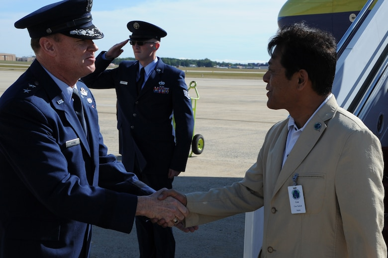 Air Force District of Washington Commander Maj. Gen. Darryl Burke greets Gen. Harukazu Saitoh, Japan Air Self-Defense Force Chief of Staff, along with other Air Force leaders from the Pacific region on Joint Base Andrews, Md., Sep. 13. The leaders are visiting as part of the Pacific Air Chiefs' Symposium, one of the Air Force's multilateral engagement opportunities used to build relationships with Pacific countries and to enhance theater security cooperation. The Air Force District of Washington brings air, space and cyberspace capabilities to the joint team protecting the nation's capital, and supports local personnel and those serving worldwide. (U.S. Air Force photo/Staff Sgt. Matt Davis)