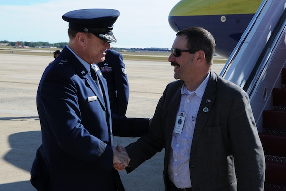 Air Force District of Washington Commander Maj. Gen. Darryl Burke greets Air Marshal Gavin Davies, Chief of the Royal Australian Air Force, along with other Air Force leaders from the Pacific region on Joint Base Andrews, Md., Sep. 13. The leaders are visiting as part of the Pacific Air Chiefs' Symposium, one of the Air Force's multilateral engagement opportunities used to build relationships with Pacific countries and to enhance theater security cooperation. The Air Force District of Washington brings air, space and cyberspace capabilities to the joint team protecting the nation's capital, and supports local personnel and those serving worldwide. (U.S. Air Force photo/Staff Sgt. Matt Davis)