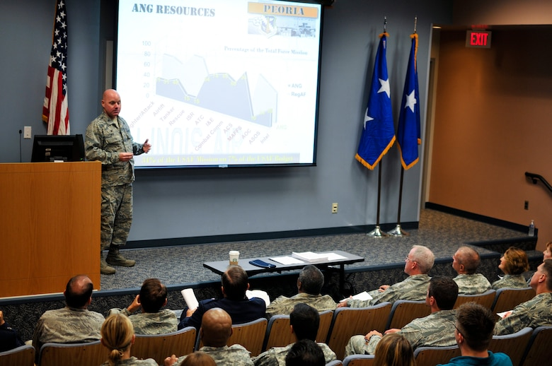 U.S. Air Force Col. Cory K. Reid, commander of the 182nd Mission Support Group, Illinois Air National Guard, speaks to Air and Army National Guard legal professionals during a joint-force training workshop at the 182nd Airlift Wing, Peoria, Ill., Sept. 12, 2015. The Judge Advocate General Corps provides professional counsel and a full spectrum of legal capabilities to Airmen. (U.S. Air National Guard photo by Staff Sgt. Lealan Buehrer/Released)