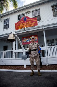 U.S. Marine Corps Sgt. Maj. William T. Sowers, 1st Marine Division Sergeant Major, attends the 1st Marine Division change of command ceremony at Marine Corps Base Camp Pendleton, Calif., Sept. 10, 2015. The ceremony signifies the transfer of responsibility and authority of 1st Marine Division between Commanding Generals. (U.S. Marine Corps photo by Sgt. Luis A. Vega, 1st Marine Division Combat Camera/Released)